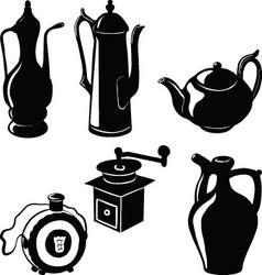 Antique pottery for tea coffee brandy vector