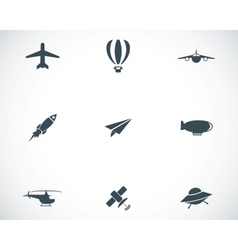 Black airplane icons set vector