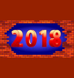 Broken wall 2018 lettering vector