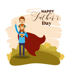 Colorful card with dad super hero and son in vector