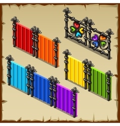 Colorful set of fences with forged elements vector