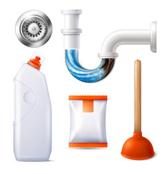 Drain cleaner icon set vector
