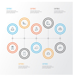 Dress outline icons set collection of mini vector