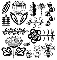 Floral decorative design elements set with bugs vector