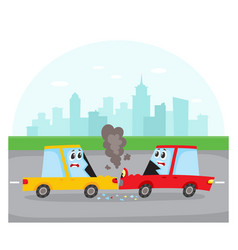 Head on collision of car characters on city street vector