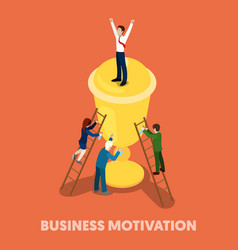 isometric business people motivation concept vector image vector image