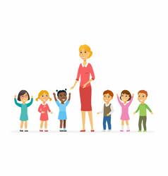Kindergarten teacher with children - cartoon vector