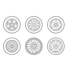 line wheels set vector image