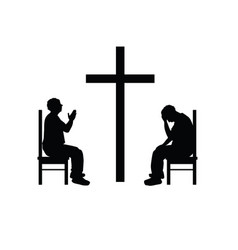 man silhouette set prays front of cross vector image vector image