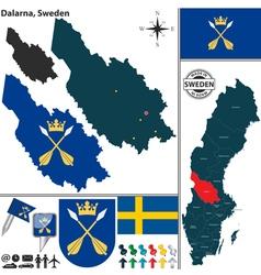 Map of Dalarna vector image vector image