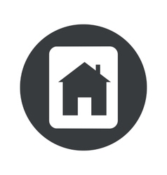Monochrome round house plate icon vector