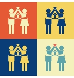 Parents icon with kid on their arms vector