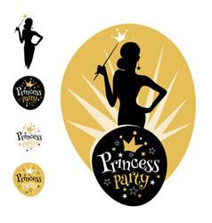 princess party logo design vector image vector image