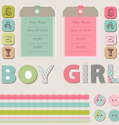 scrapbook baby girl and boy set vector image vector image