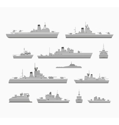 Set warships vector image
