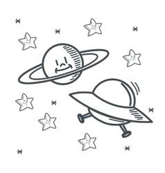 Stars planet ufo space sketch design vector