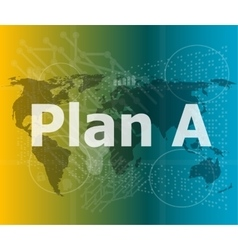 The word plan a on digital screen business vector image