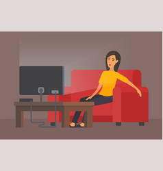 Tired woman in front of tv vector