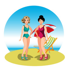 Two young women friends at beach vector