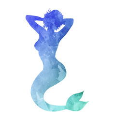 Watercolor silhouette of a mermaid on white vector