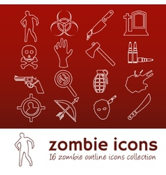 Zombie outline icons vector