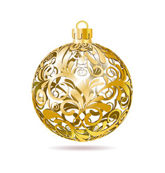 Gold Openwork Christmas ball on white background vector image