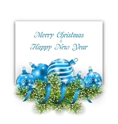 Christmas and Happy New Year Card with Blue Balls vector image
