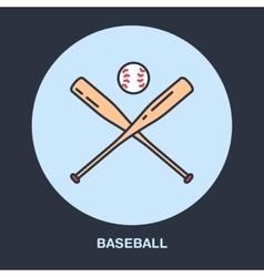 Baseball softball line icon bats and ball vector