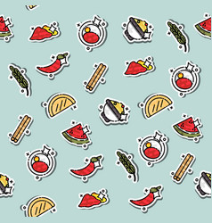 Colored indian food concept pattern vector