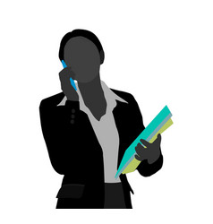 Business woman using her mobile phone scene vector