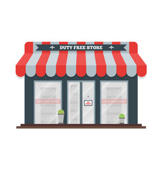 Flat icon of duty free shop facade at vector