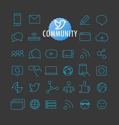 Different community icons collection web and vector
