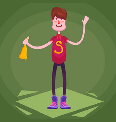 a happy schoolboy standing with a bell on the vector image
