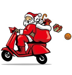 Santa ride a scooter vector