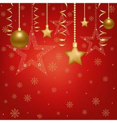 Christmas Red Card With Christmas Balls And Star vector image