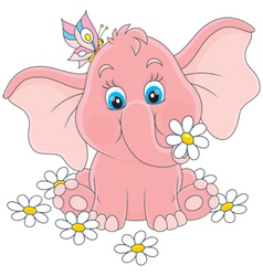 Little elephant with flowers vector