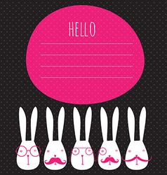 greeting card with rabbits vector image