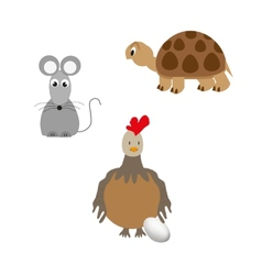 Set of animal - turtle chicken and mouse vector