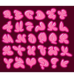 Graffiti bubble gum pink fonts with gloss and colo vector