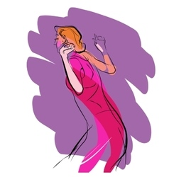 Woman dancing music vector