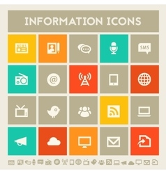 Information icon set multicolored square flat vector
