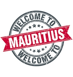 Welcome to mauritius red round vintage stamp vector