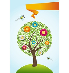 Abstract spring time tree background vector image vector image
