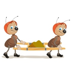 Ant builder Two ants are stretchers with sand vector image vector image