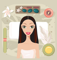 Beautiful young woman relaxing at spa salon look vector