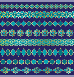 Blue and gold moroccan border patterns vector