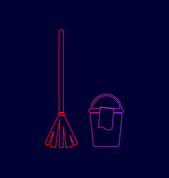 Broom and bucket sign line icon with vector