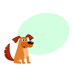 Brown funny house dog puppy character sitting vector