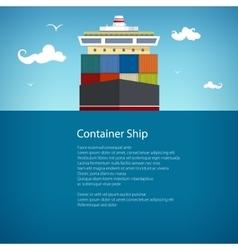 Cargo container ship at sea poster brochure vector