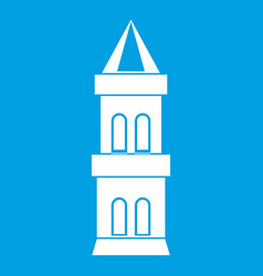 Castle tower icon white vector